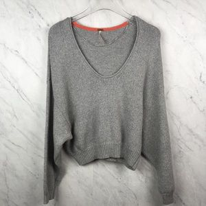 Free People Grey V Neck Sweater, Size XS